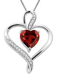 "Silvernshine Women's 1.25 Ct Heart Cut Red Garnet & Diamond Pendant Necklace, 18"" .925 Silver Chain"