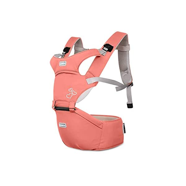 SONARIN Front Premium Hipseat Baby Carrier, Multifunctional, Ergonomic, 100% Cotton, Butterfly Rotary Buckle, 6 Carrying Positions, Adapted to Your Child's Growing,Ideal Gift(Pink) SONARIN Applicable age and Weight:3-36 months of baby, the maximum load: 20KG, and adjustable the waist size can be up to 47.2 inches (about 120cm). Material:designers choose comfortable and soft 100% cotton fabric, soft color, breathable, no irritation to the baby's skin. Baby carrier also designed anti-friction legs cushion, prevent the carrier to hurt the baby, to the baby comfortable and enjoyable. Description: patented design of the auxiliary spine micro-C structure and leg opening design, natural M-type sitting. Widen the shoulder strap and belt will be effective to disperse the baby's weight to the shoulder and waist, so that mother more effort. EPP seat core, no deformation, baby sitting more comfortable. 1