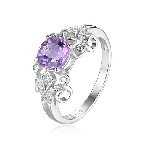 Amethyst-ring-rund - (JewelryPalace Vintage 1ct Echter Oval Amethyst Ring Runde Jahrestag Ring Verlobungsring 925 Sterling Silber)