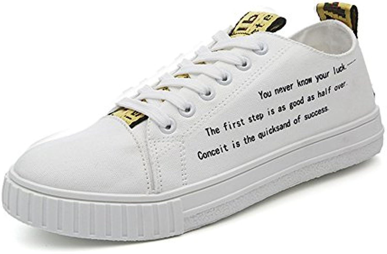 Zapatos Planos de Deporte de los Hombres Mocasines Casuales Cordón Antideslizante Low Top Outsole Canvas Shoes  -