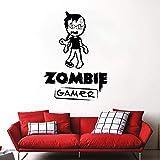 Tatuajes de pared Zombie Gamer Arte de la pared Juegos de video y murales Etiqueta de la pared Chico Adolescente Decoración de la habitación Vinilo extraíble Gamer Wallpaper Un negro 42x59cm