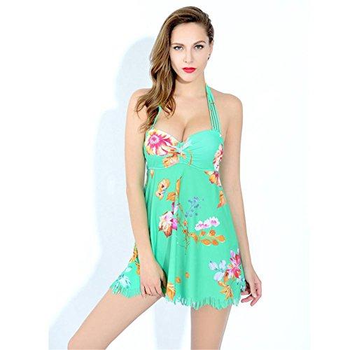 Bikini Blumenrock Split zwei Sätze Badeanzug bright green