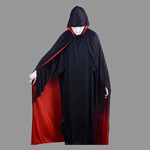 nder Erwachsene Death Cloak Mit Cap Rot und Schwarz Doppelseitig ( Size : Adult ) (Adult Beängstigend Kostüm)