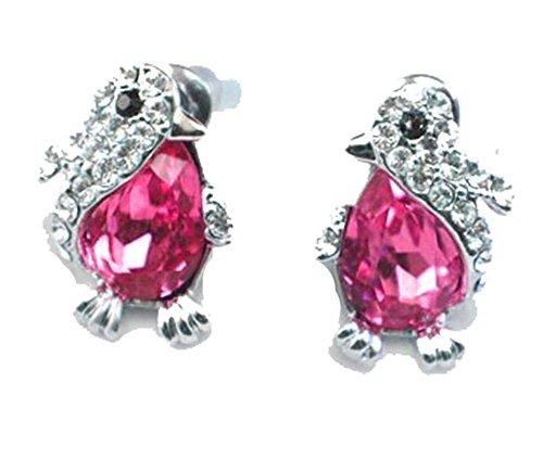 (findout Damen weißes Gold überzogen Cubic Zirkone österreichischen Kristall Pinguin Ohrringe, für Frauen Mädchen (f1641) (rot))