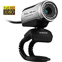 AUSDOM Webcam AW615 1920 x 1080p Full HD Facecam USB Kamera für Windows Laptops mit eingebautem Mikrofon Ideal für Skype, Facetime, Youtube, Facebook