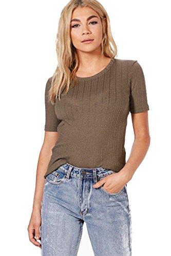 Damen Salbei Tia Ausgewaschenes, Geripptes T-shirt - XS (Salbei Bluse,)