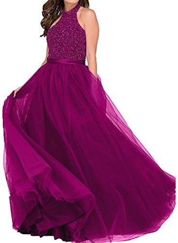 Victory Bridal Damen Langes Abendkleid Festliches kleid Strass Ballkleider Weinrot Damen Kleider Abschlussballkleider Prinzess Fuchsia