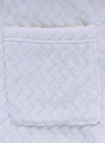 oodji Ultra Damen Bademantel aus Texturiertem Stoff mit Aufgesetzten Taschen Weiß (1200G)