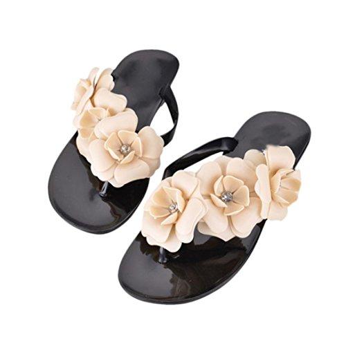 Sandali da donna,Bohemia Heel piatto Infradito scarpe da spiaggia Pantofole femminili Nero