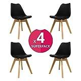 KunstDesign Nordic Chair (Pack 4) - Skandinavischer Stuhl Schwarz - Mona - (Wählen Sie Ihre Farbe)