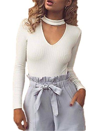 BESTHOO Camicetta Donna Manica Lunga Con Scollo V T Shirt Buse E Camicie Slim Fit Eleganti Camicia Bluse Tops Casual White
