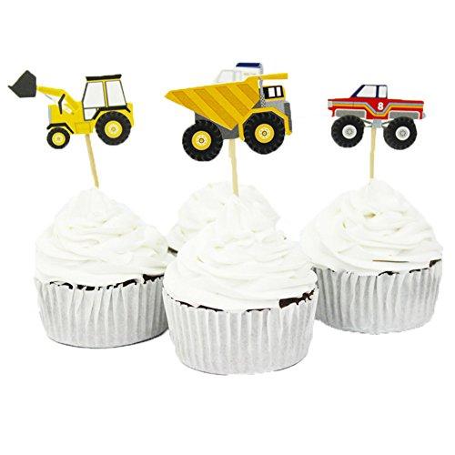 BETOP HOUSE Set mit 24 Stück LKW-Serie Traktor Bagger Van Auto Deko Cupcake Topper