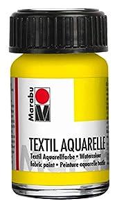 Marabu 17090039020 - Pintura para Acuarelas (Base de Agua, para Tejidos claros, sin olores, Resistente a la luz, Resistente a la Saliva, Tacto Suave, 15 ml), Color Amarillo