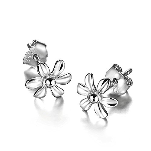 Acxico seis pétalos poco flores plata de ley 925 pendientes del perno prisionero de la forma