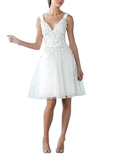 NUOJIA V-Ausschnitt Tüll Hochzeitskleid Kurz mit Applikationen Strand Hochzeitskleid 2017 Cocktail...