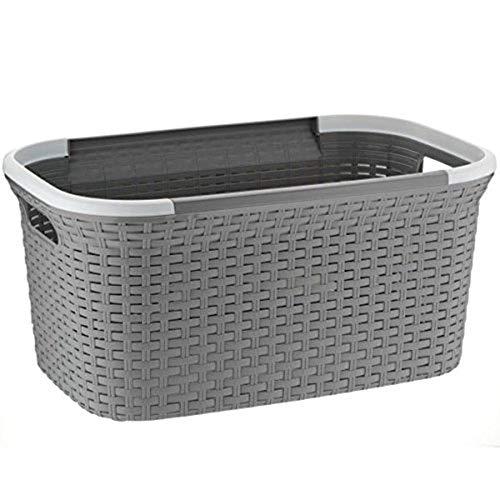 MamboCat Rio 40L grau weißer Wäschekorb Plastik stabil I Laundry Box Wäsche I Aufbewahrungskorb Multifunktionskorb Wäschesammler Kunststoff I Wäschewanne zum Wäsche sortieren 55x35x35cm (LxBxH)