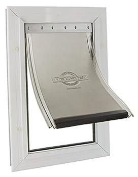 PetSafe - Très Grande Chatière Staywell en Aluminium pour Chien avec Système de Verrouillage, Poids max. 100kg - Facile à Installer, Isolante, Protection anti-UV, Battant Souple et aimanté, S/M/L/XL