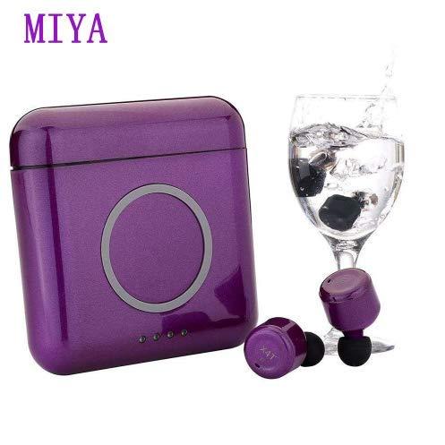 Miya TWS Bluetooth Kabellos Kopfhörer, Touch Sensor Headset drahtlose 4.2 Stereo-Ohrhörer Telefon drahtlose Aufladen 5200mAh Power Bank mit Ladekästchen mit Mikrofon für Android IOS-Lila -