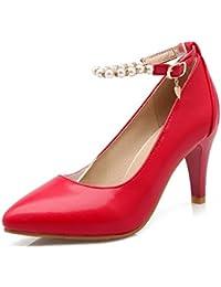 AllhqFashion Damen Schnalle Spitz Zehe Hoher Absatz Gemischte Farbe Pumps Schuhe, Schwarz, 33