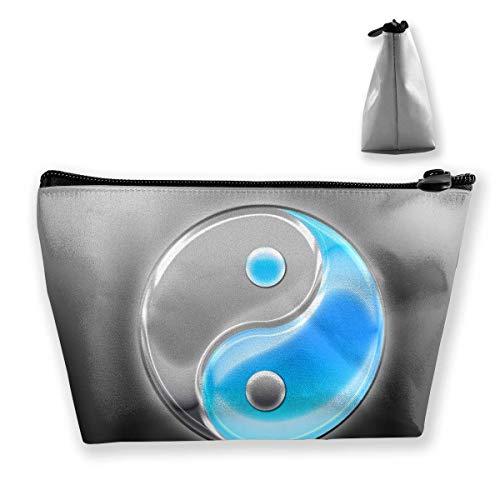 z Aufbewahrungstasche Yin Yang Blau Schwarz Tragbare Kosmetiktasche Damen Mobile Reisetasche ()