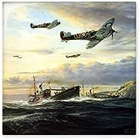Mar Naves de Guerra la segunda guerra mundial II aire fuerza de combate aéreo Smoky trágico Militar pintura al óleo cerámica crema azulejos para la decoración de cuarto de baño decoración de la cocina azulejos de pared azulejos de cerámica