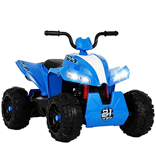 Uenjoy Kinderauto ATV Elektro 12V ATV für Kinder Fahrt auf Auto w / 2 Geschwindigkeit, Federung, LED-Leuchten, Eingebautes Horn, Getretene Reifen, Motortöne für Kinder, Blau