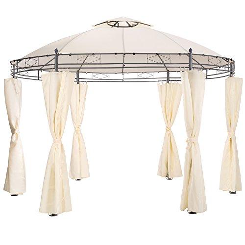 TecTake Luxus Pavillon Gartenpavillon Partyzelt Eventpavillon rund Ø 350cm   inkl. Seitenteile und Befestigungsmaterial   creme