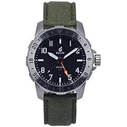 Reloj de pulsera Boldr Explorer GMT de cuarzo suizo que brilla en la oscuridad y con correa de cuero - Reloj de acero