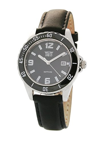 Davis 'Elegance' 1455 Women's Analog Quartz Watch with Ceramic Bezel and Leather Strap