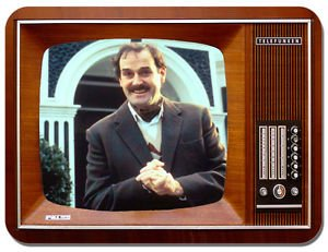 Mauspad, Motiv TV-Serie Fawlty Towers. Mauspad im Vintage-Stil mit TV-Darsteller Basil Fawlty.