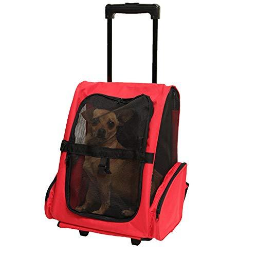 OTENGD Pet Roller Rucksack Travel Carrier Trolley Tragrad Rundum 4-in-1 Mesh Belüftung Inklusive Haltegurt Teleskopgriff für Katzen Hunde Kleintiere