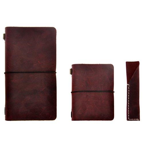 Agenda / cuaderno / diario de viaje en cuero - rellenable, clásico / vintage, hecho a mano, con porta-lápices, conjunto de tres