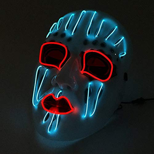 ArgoBar Halloween LED Slipknot Maske Horrible EL Maskerade Tanzparty Maske (Farbe: weiß) (Slipknot Halloween Masken)