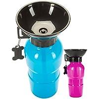 Goods & Gadgets Hunde Trinkflasche mit Integriertem Trinknapf Reise Wasserflasche Auto Hundeflasche mit Wasser-NAPF 600ml; Blau