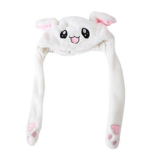 ZEELIY Damen Rabbit Ear Hat Lustige Plüsch Tier Ohr Hut Spielzeug mit Beweglichen Ohren Cosplay Kostüm kann Airbag Magnetkappe Plüsch Geschenke Tanz - Mädchen Mit Perlenohrring Kostüm