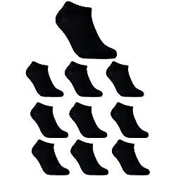 Sportsocken Herren 10er pack kurz knöchel socken einfarbig, sport, baumwolle sneaker socken,schwarz,EU 43 44 45 46 47 48