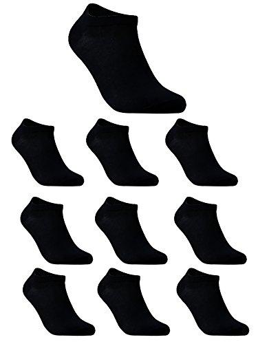 TAIPOVE Sportsocken Herren Damen 10er pack kurz knöchel socken einfarbig, sport, baumwolle sneaker socken,schwarz,37-42 -