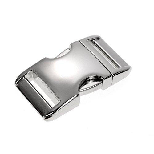"Metall-Klickverschluss Alumaxx, Set aus 8 Stück, 1\""/Klippverschluss/Steckschließer/Steckverschluss für Paracord-Armbänder, Hunde-Halsbänder, Rucksack, Oberfläche glanz verchromt, Marke Ganzoo"
