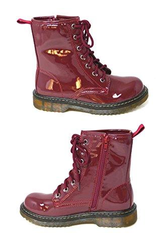 Bottines à lacets avec zip en cuir vernis pour femmes Style vintage, punk, combat Pointure 36-42 Bugundy (hm001)
