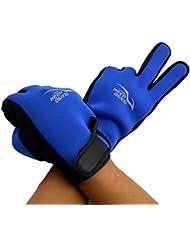 QHGstore Guantes de neopreno de primera calidad para adultos de 3 mm antideslizantes guantes Snorkel surf natación azul XL