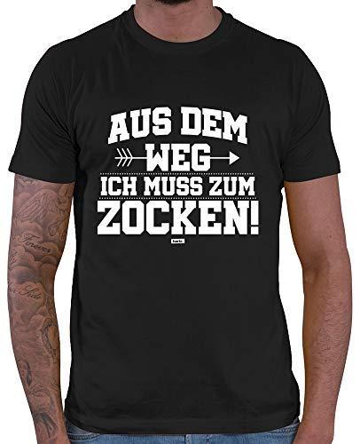 HARIZ  Herren T-Shirt Aus Dem Weg Zocken Gamer Gaming Sprüche WASD E-Sport Plus Geschenkkarte Schwarz L