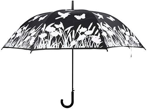 Esschert Design TP275 Regenschirm mit Farbwechsel, Vogel, schwarz, weiß