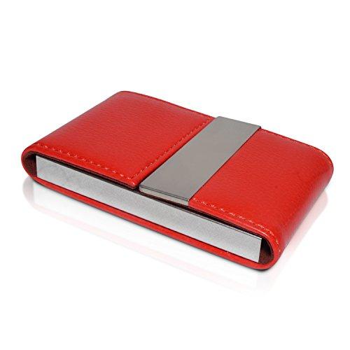 NICESTILE Visitenkartenetui - Hochwertiges Kartenetui aus Edelstahl und PU Leder, Eleganter Kartenhalter mit Magnetverschluss (Rot)