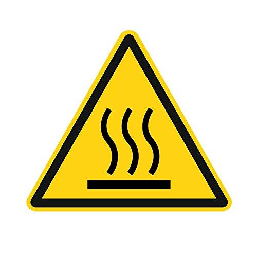 Warnzeichen W017 - Warnung vor heißer Oberfläche - Aufkleber aus Folie - 50 mm - 250 Stück