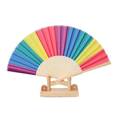 (Johlye Hand Fan Rainbow Hand Falten Fans Pack Von 4, Handheld Gefaltet Fan Für Tanz Hochzeit Geschenk Party Favors DIY Dekoration)