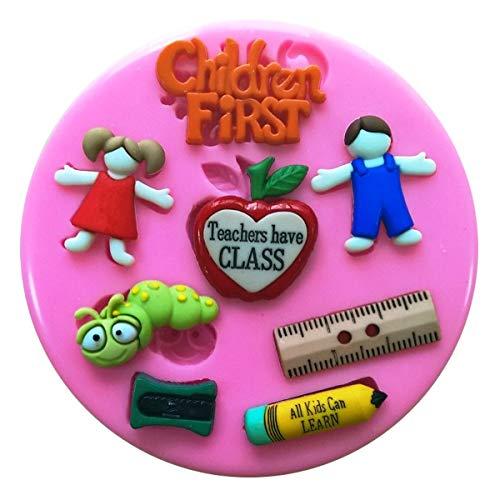 Schule Lehrer Bücherwurm Kinder Silikon Silikonform für Kuchen dekorieren KUCHEN, Cupcake Topper Zuckerguss Sugarcraft von Fairie, Blessings (Push-pins Mickey)