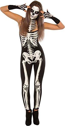 Frauen Skelett Kostüm Süßes - LOBiI78lu Damen Röntgen-Halloween-Kostüm, schulterfrei, Skelett-Kostüm - Weiß - (US 12-14) Large