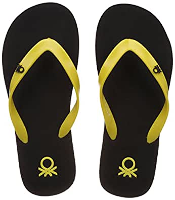 United Colors of Benetton Men's Basic 1 Black and Yellow Flip-Flops and House Slippers - 10 UK/India (44.5 EU)