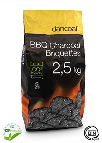 Dancoal 2.5 kg premium natural charcoal BBQ charcoal Eco CO2 friendly briquettes with hot embers and long burning time, fast and safe lighting.