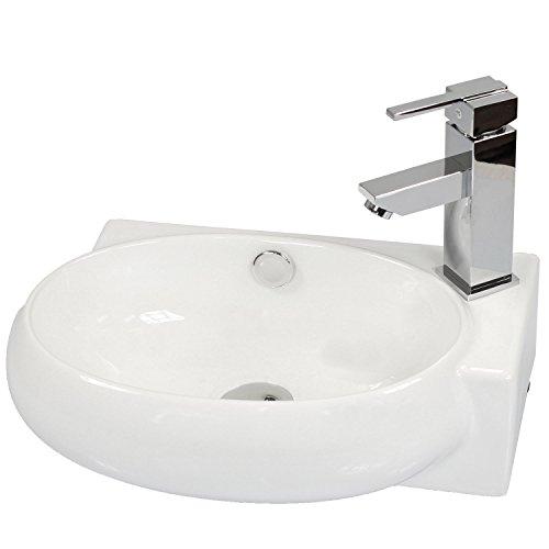 Miganeo Waschbecken 43cm x 28cm x 12cm Waschtisch Keramik Handwaschbecken für Bad Hängewaschbecken 5011